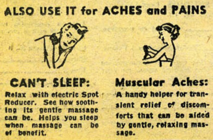 """An ad for an """"Electric Spot Reducer"""" in Adventures of the Unknown #17, January 1951"""