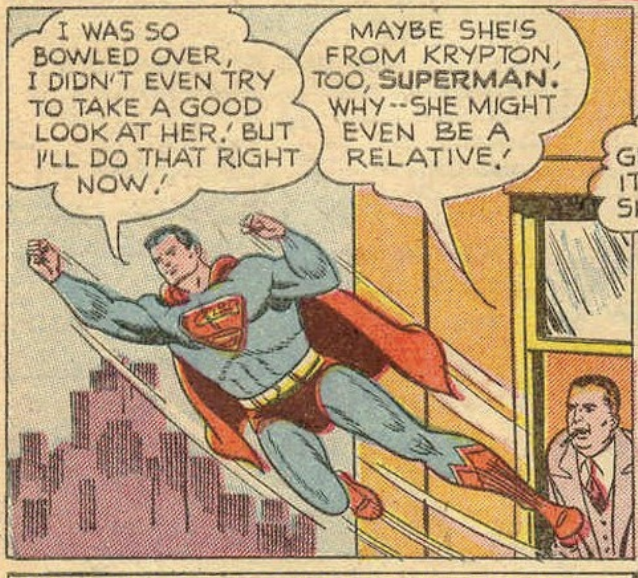 Perry foreshadows Supergirl years in advance, Action Comics #156, March 1951