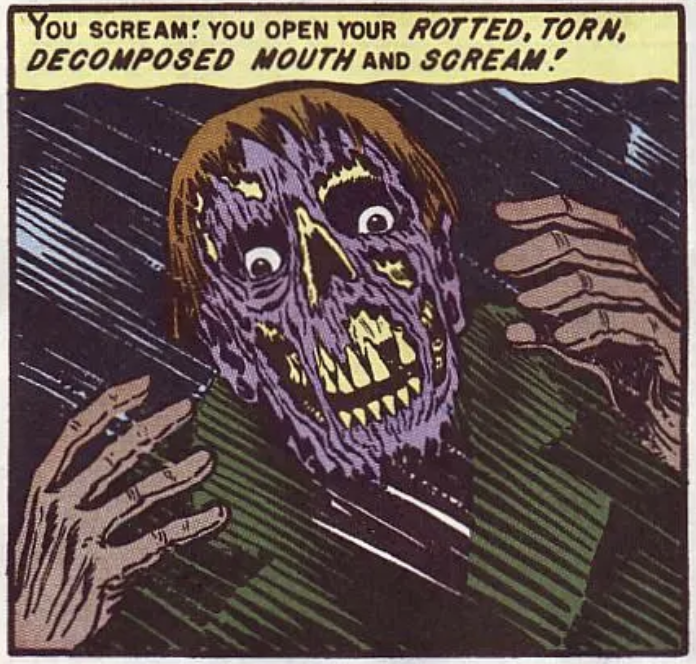 """A panel from """"Reflection of Death"""" in Tales from the Crypt #23, January 1951"""